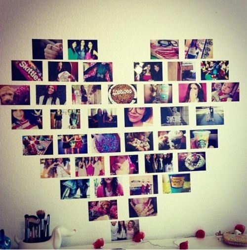 coração com fotos na parede