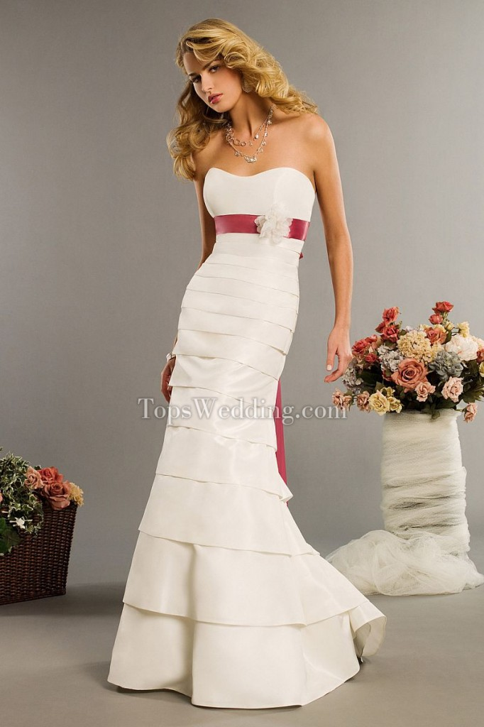 Classical-Strapless-Sweetheart-Ruffles-Empire-Wedding-Dress-with-Petticoat-and-Pink-Bow-Tie-EPWS1114