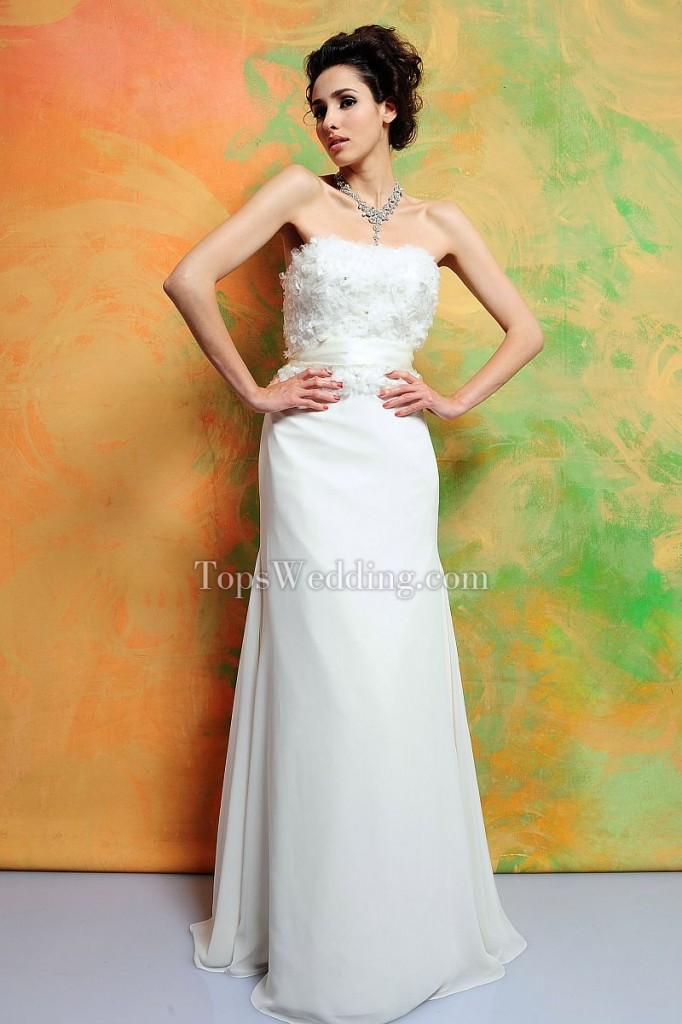 Exclusive-Strapless-Short-Sleeves-Empire-Brush-Train-Wedding-Dress-with-Bow-Tie-on-the-Back-EPWS1104
