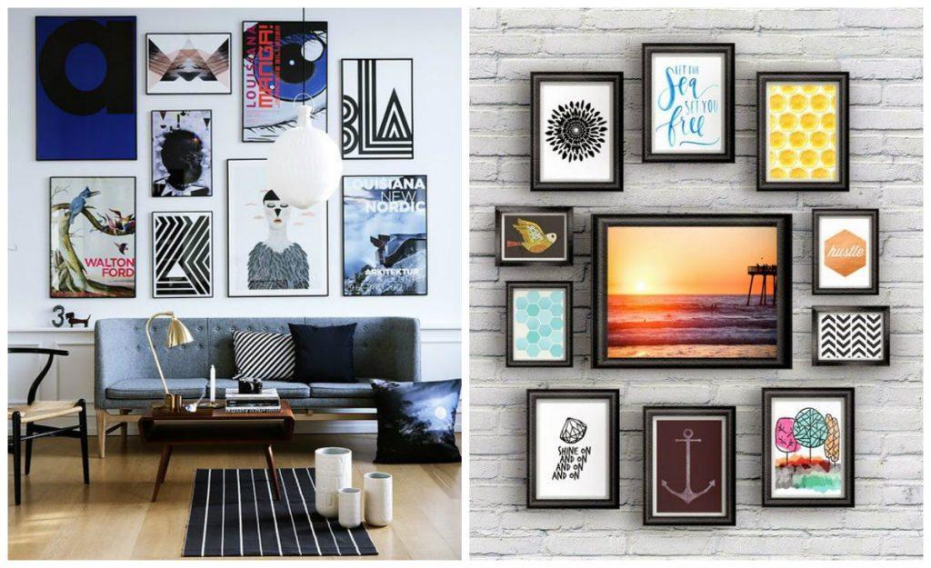 decoração-com-quadros-de-tamanhos-diferentes-decoração-feito-em-casa
