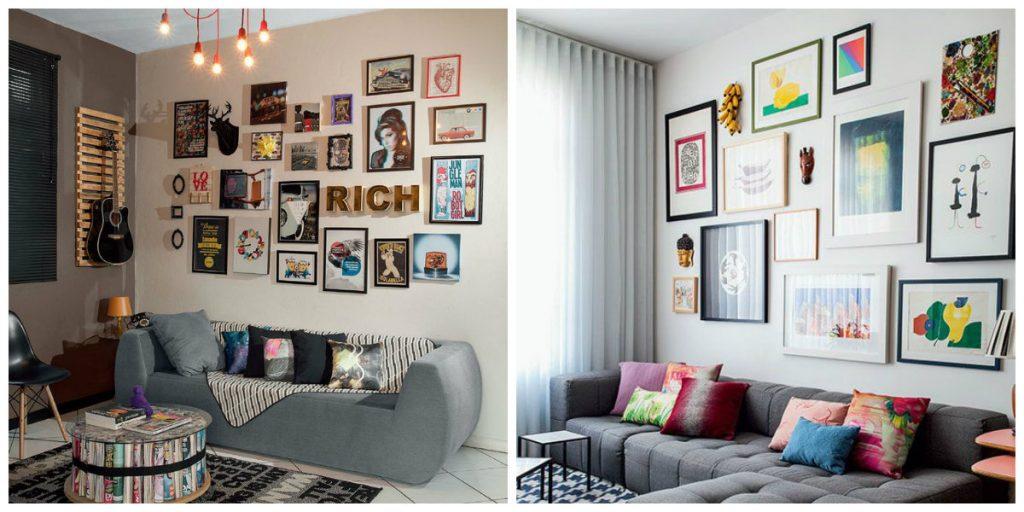 decoração-com-quadros-e-outros-objetos-em-volta