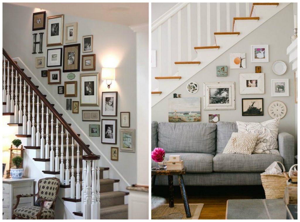decoração-com-quadros-na-escada