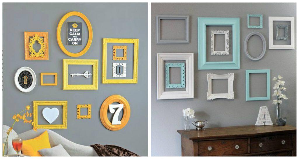 decoração-com-quadros-quadros-sem-fotos-e-imagens-apenas-moldura-na-parede
