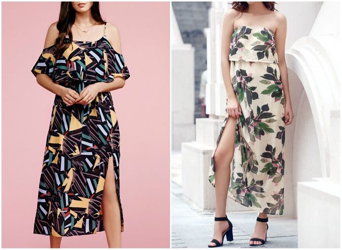 vestidos com fendas e ombros em destaque