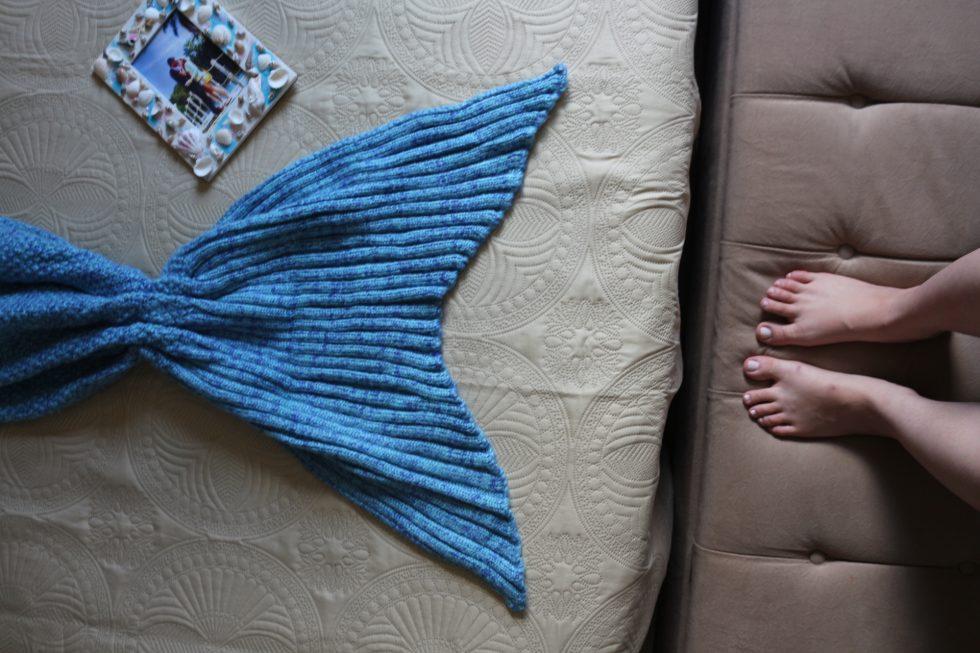 cauda de sereia de tricô