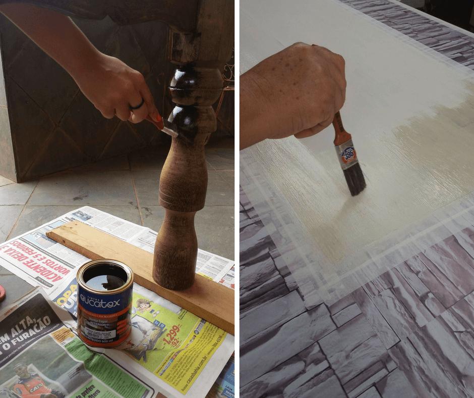 customizar móveis personalizar mesa com papel de parede