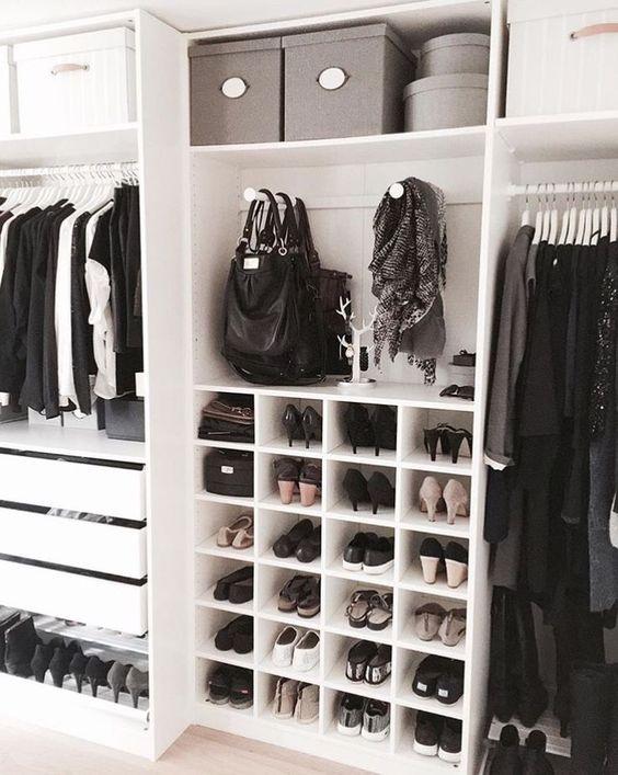 caixas decorativas no closet