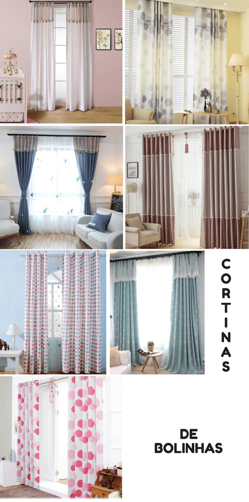 cortinas de bolinhas inspiração decoração