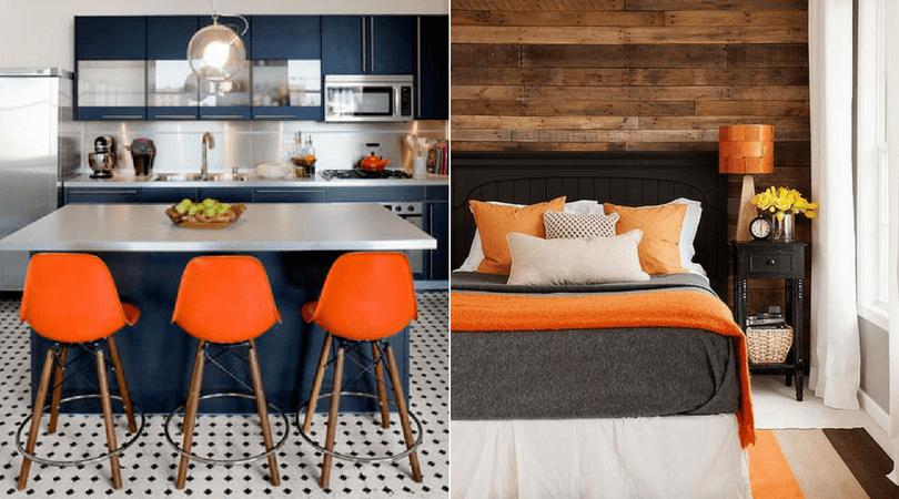 cores na decoração laranja