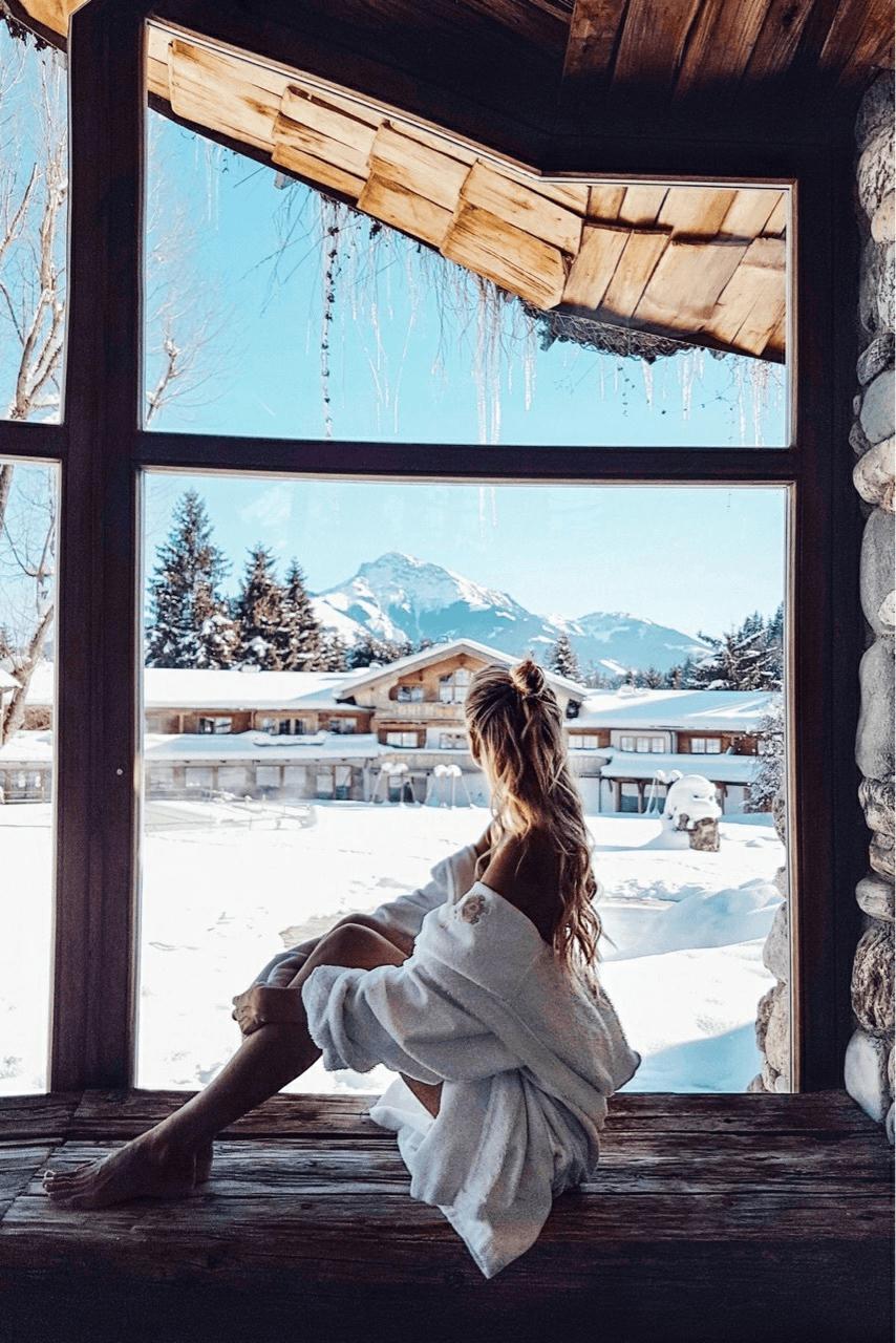 Fotos na neve com paisagem incrível