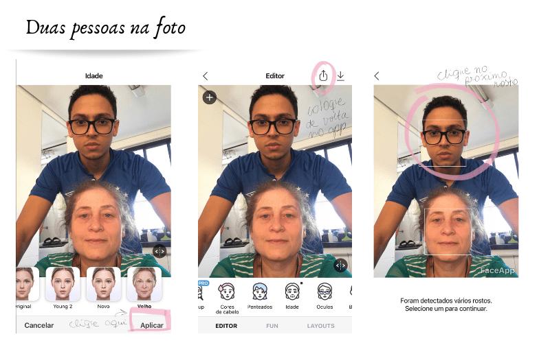 faceapp como colocar efeito que envelhece em duas pessoas pelo aplicativo
