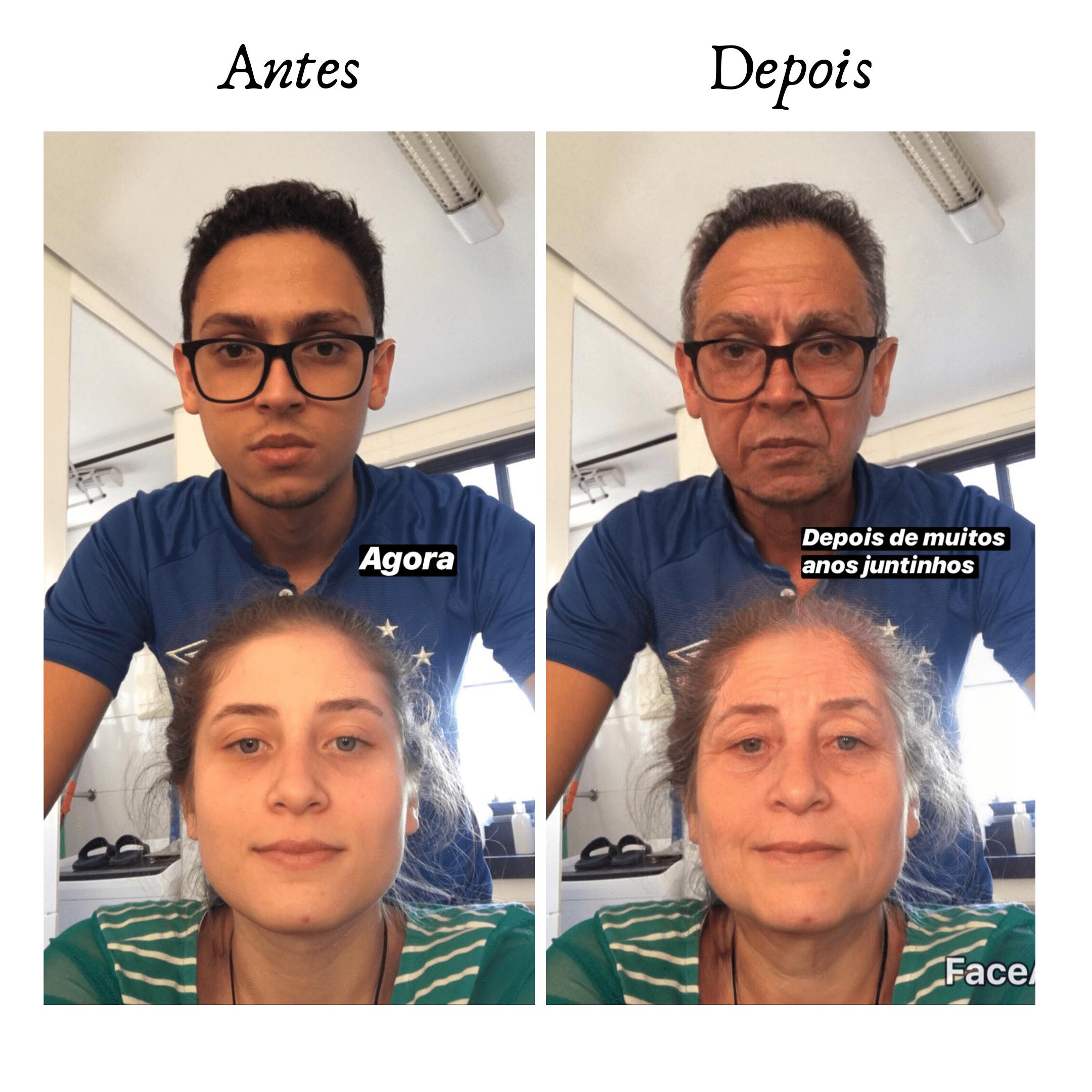 stories de antes e depois usando o aplicativo faceapp que envelhece